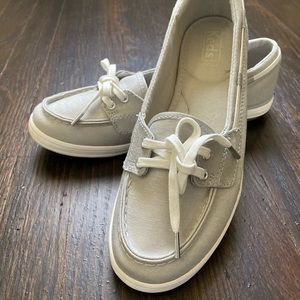 Keds silver boat shoes